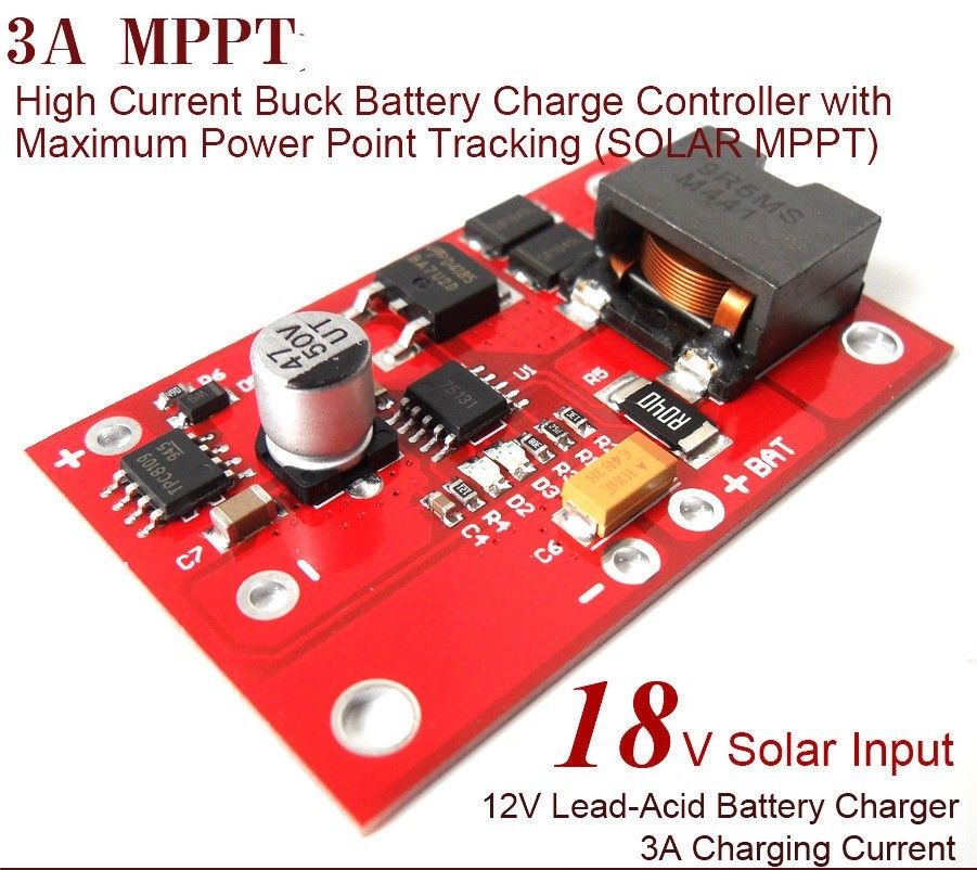Akozon MPPT Solar Controller 12V 3A Charger Module Power Supply for Lead-acid Batteries Charger 3A