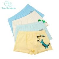 Zoe Saldana Boy's Underwear 2017 New 4 Pcs/Lot Cartoon Dog Dinosaur Boxer Children Panties Cotton Baby Boy Soft Short Underpants