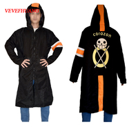 VEVEFHUANG Cosplay Costume Trafalgar Law Cloak Men Adult Black Overcoat Japanese Anime long Sleeve With Hat Cool Style Cartoon