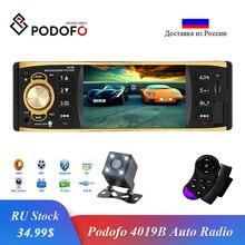 Podofo Radio de coche de 4,1 pulgadas, 1 Din, receptor de Audio estéreo, AUX, FM, 4019B, Bluetooth, con Control en el volante