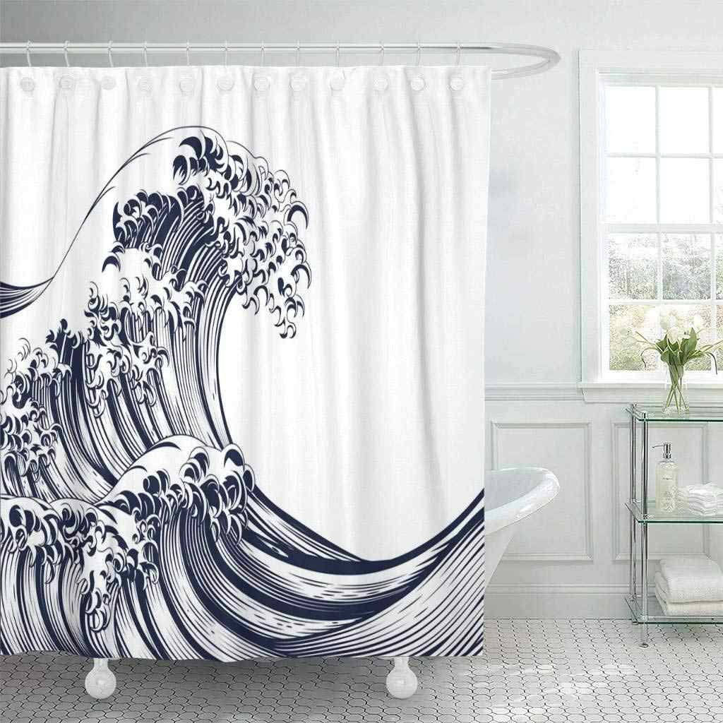 Shower Curtain With Hooks Blue An