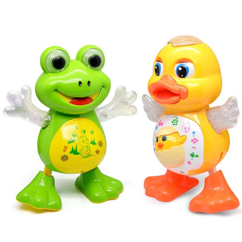 Купить с кэшбэком YIJUN New Electronic Dancing Frog Pet Toys Robot doll Toys Light Music Universal Interactive Toys Children Toys Brithday Gifts