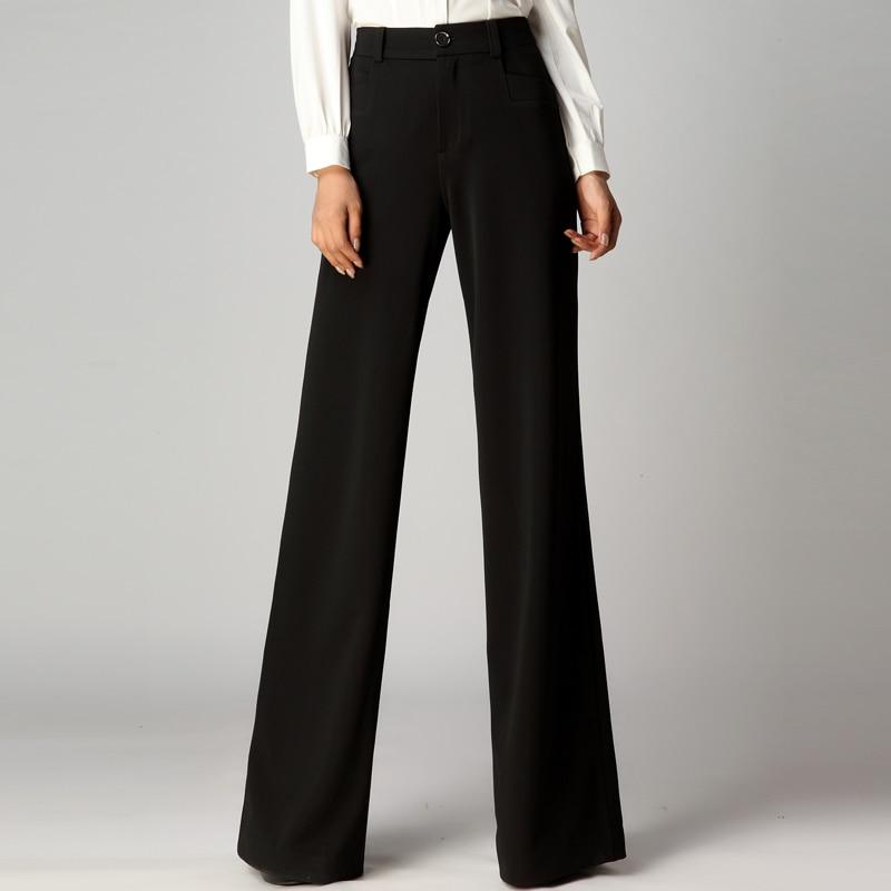 Occasionnels Pantalon À Jambes Automne Noir Femmes D'hiver D'origine Taille Larges Long Haute Pantalons Et Acrmrac 70OYq7