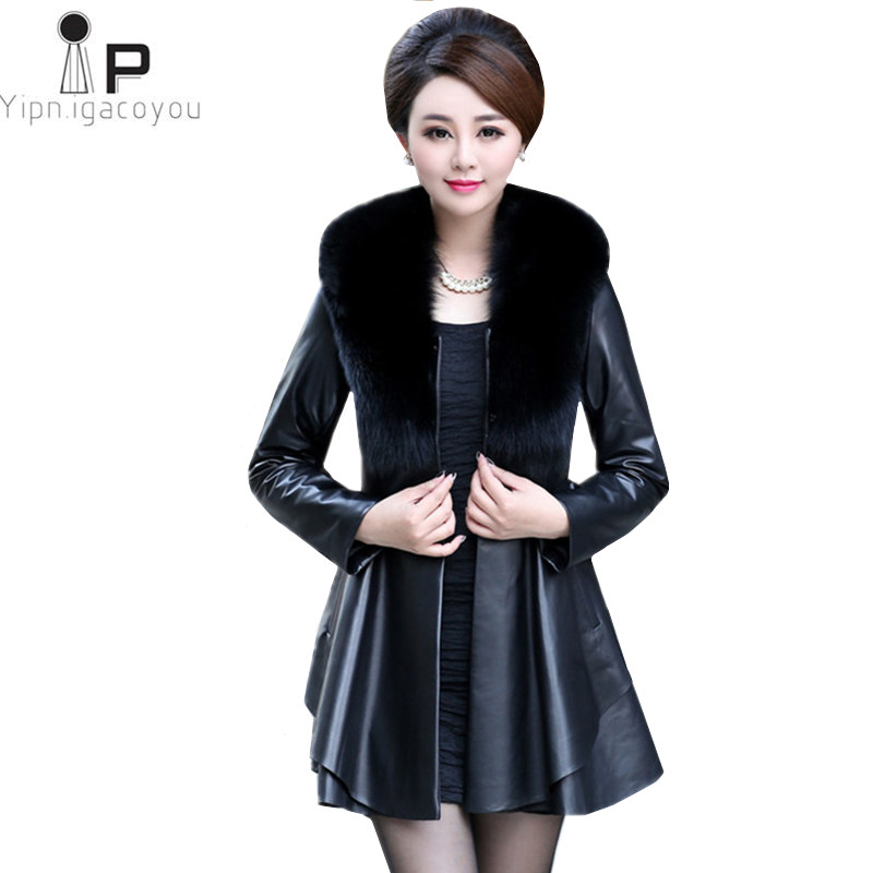 Long Fake Fur Coat Women Jacket Autumn New Fashion Plus Size Fur Collar Sashes Warm Leather