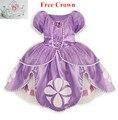 2015 Принцесса софия платье костюм disfraz vestido де феста princesa sofia princesinha софия первый roupas infantil meninas