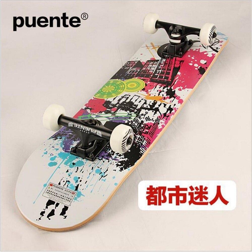 Planche à roulettes Graffiti érable canadien de qualité 78.5*19.5*10 cm LongBoard hommes/fille DoubleRocker Monopatin skate de rue limite planche à roulettes - 2