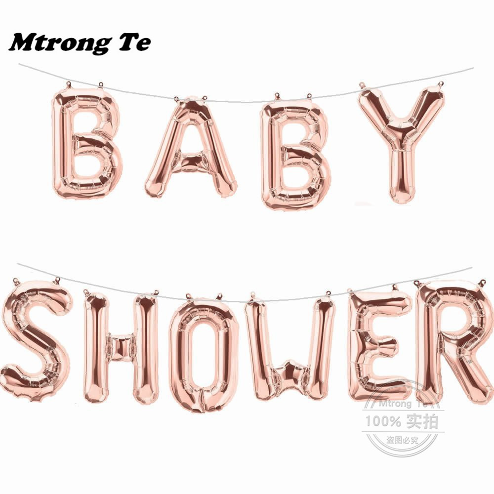 16inch Silver Rose Gold Oh Baby Letter Foil Balloons Its a Boy Girl Baby Shower Decoration Birthday Party Supplies Gender Reveal