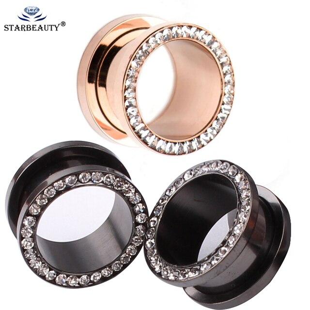 1pair Full Zircon Black Plugs And Tunnels Earring Gauges Ear Piercings Expanders Rings