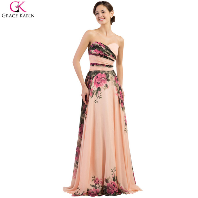 Plus Size Evening Gowns 2017 Grace Karin Strapless Chiffon Floral
