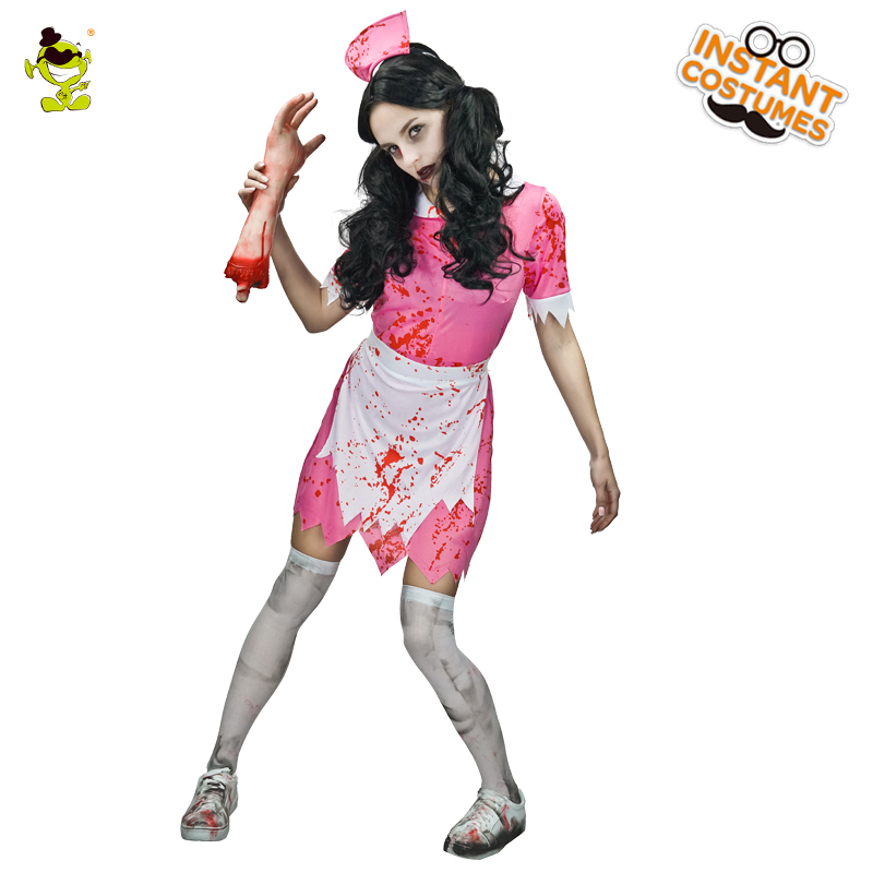 Women Bloody Nurse Costume Zombie Nurse Scary Outfits for Halloween Party Cosplay Women Fansy Dress Costume