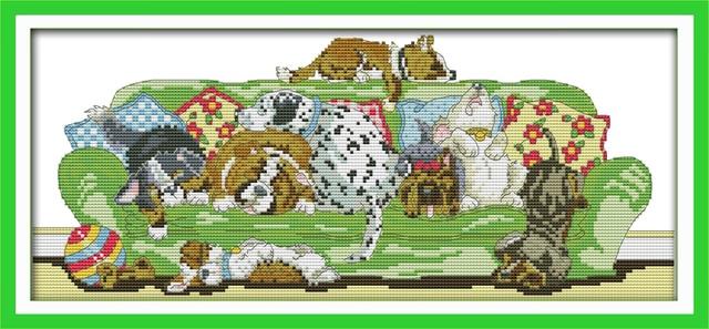 joy sunday animal style sleeping dogs cross stitch christmas stocking patterns embroidery kits online for handcraft - Cross Stitch Christmas Stocking Kits