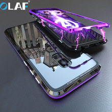 OLAF Magnetic Adsorption Flip Phone Case for Samsung Galaxy S8 S9 Plus Note 8 9 Cases Magnet Metal Tempered Glass Back Cover