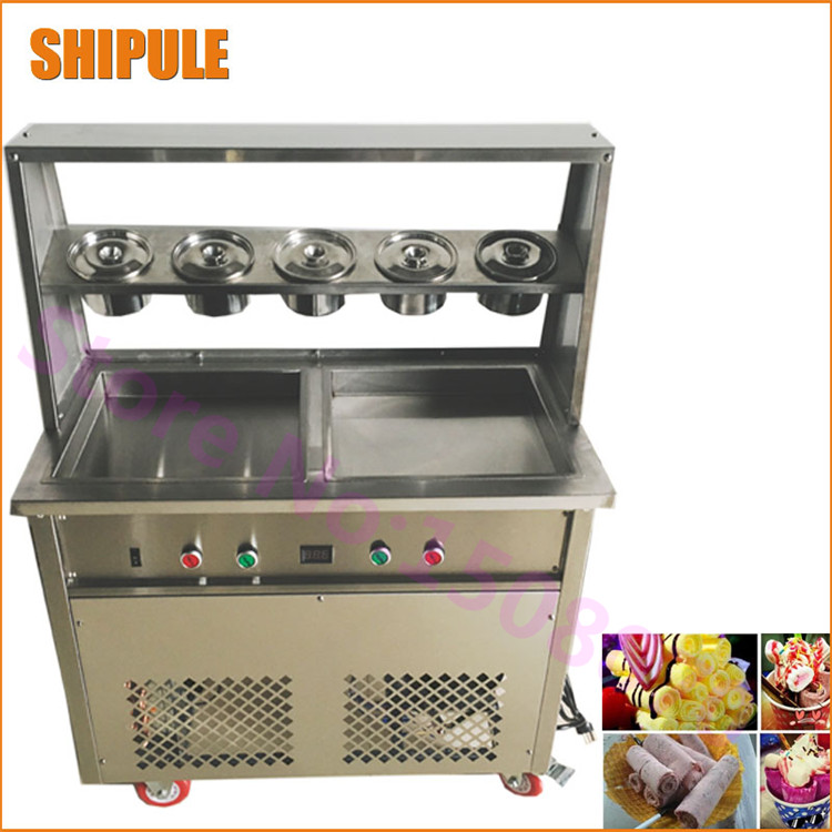 Fry ice cream machinery deep 2.5cm double pressure square fry fried pan ice cream roll rolling machine square pan rolled fried ice cream making machine snack machinery