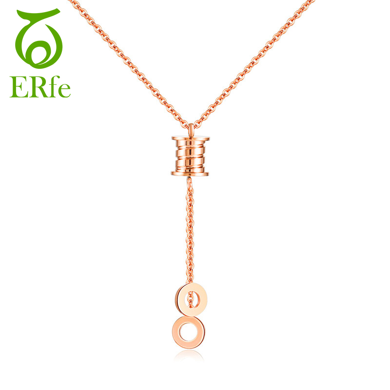 ER Simple Collier Femme Long Chain Tassel Necklace Female Cute Double Circle Pendant Rose Gold Neckless Costume Jewelry WN001