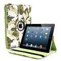 Fashion camouflage 360 degree rotating book case for Ipad 4 3 2 smart cover holder  prtoector shell skin for Ipad A1458 A1459