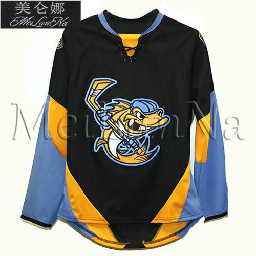 Customize ECHL 2017 Toledo Walleye Hockey Jersey Alternate Black1