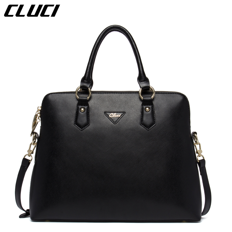 Aliexpress.com  Buy CLUCI Women Briefcase Leather Laptop Bag 37cm 14 inches Pink/Black Fashion ...