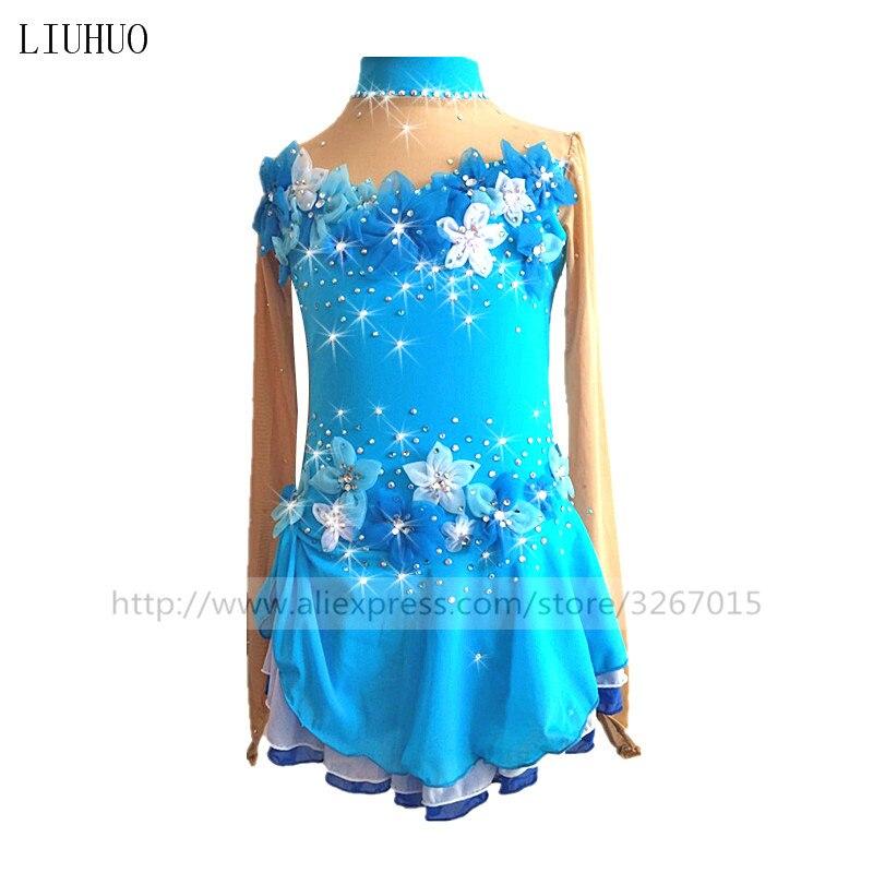 Patinage artistique Robe de Femmes Filles Robe De Patinage De Glace Bleu Royal manches Longues Main-made fleur décorations Multicouche jupe