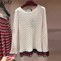 2018 Winter Runway White Knitted Sweaters and Pullovers Women Striped Sequin Sweet Female Ladies korean Jumper Tops Clothing