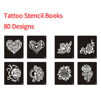 One Book 80 Designs Stencils for Tattoo Henna Tattoo Stencil for Painting Airbrush Glitter Temporary Body Art Free Shipping