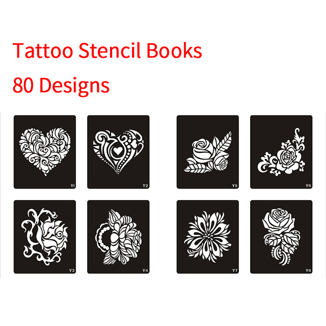42 96 10 De Descuento Plantilla De Un Libro 80 Disenos Para Tatuaje Plantilla De Tatuaje De Henna Para Pintar Aerografo Brillo Temporal Arte