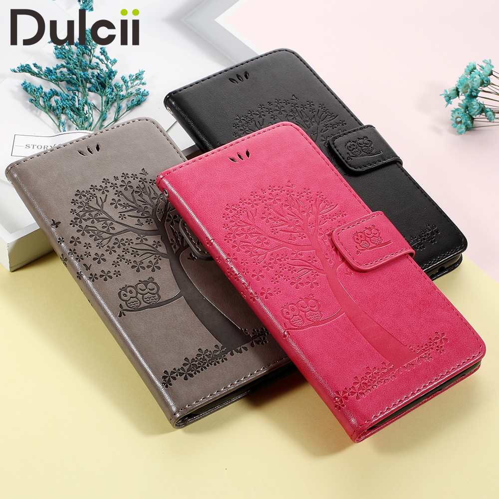 DULCII for Huawei Mate 10 Lite Pro 10Lite 10Pro Phone Case Funda Imprint Tree Owls Card Slots PU Leather Stand Flip Cover Shells