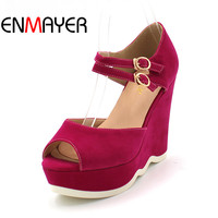 ENMAYER Size 34 39 New 2014 Casual Ankle Strap Flock Platform Summer Shoes Wedges Sandals For
