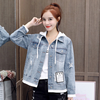 women short caot 2019 spring autumn korean casual loose hoodes denim jacket ladies outwear harajuku feamle clothes ladies tops