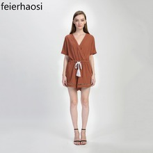 Фотография feierhaosi short sleeve women bodysuit casual playsuit hollow out overalls romper with rope clothing jumpsuits for women F1746