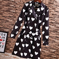 Street Trench 2016 New Autumn Winter Famous New Turn-Down Collar High Quality Sweet Heart Print Black Slim Elegant Trench