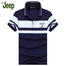 Fashion Men's polo shirt striped summer Cotton short-sleeved polo shirt comfortable slim polo shirt 2017 new tops AFS JEEP55