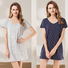 2019 New Summer Women Nightgowns V-neck Ladies Nightdress Mini Sleepwear Short Sleeve Blue Gray Print цена 2017