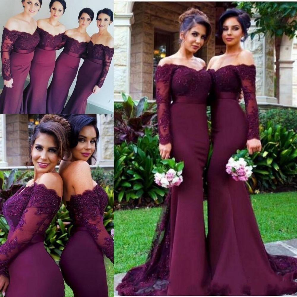 Maroon Wedding Gown: 2017 Burgundy Long Sleeves Mermaid Bridesmaid Dresses Lace
