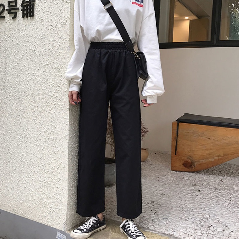 2019 New Women Casual Harajuku Spring Autumn Long Trousers Solid Elastic High Waist Pants Ankle Length Slimming pantalon femme