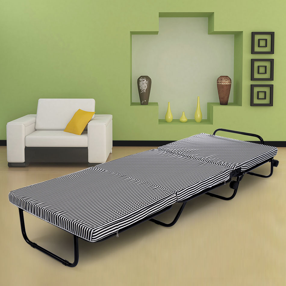 78 inch Portable Tri-Fold Foldable Metal Bed + Foam Mattress + 4 Wheels + Covers78 inch Portable Tri-Fold Foldable Metal Bed + Foam Mattress + 4 Wheels + Covers