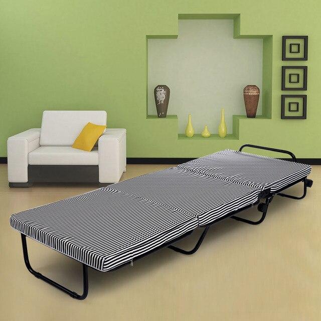 Etonnant 78 Zoll Beweglicher Tri Falten Faltbare Metall Bett + Schaum Matratze + 4  Räder +