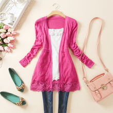 2013 spring and autumn new arrival cutout lace cardigan sunscreen sweater shirt thin outerwear women's sun protection clothing