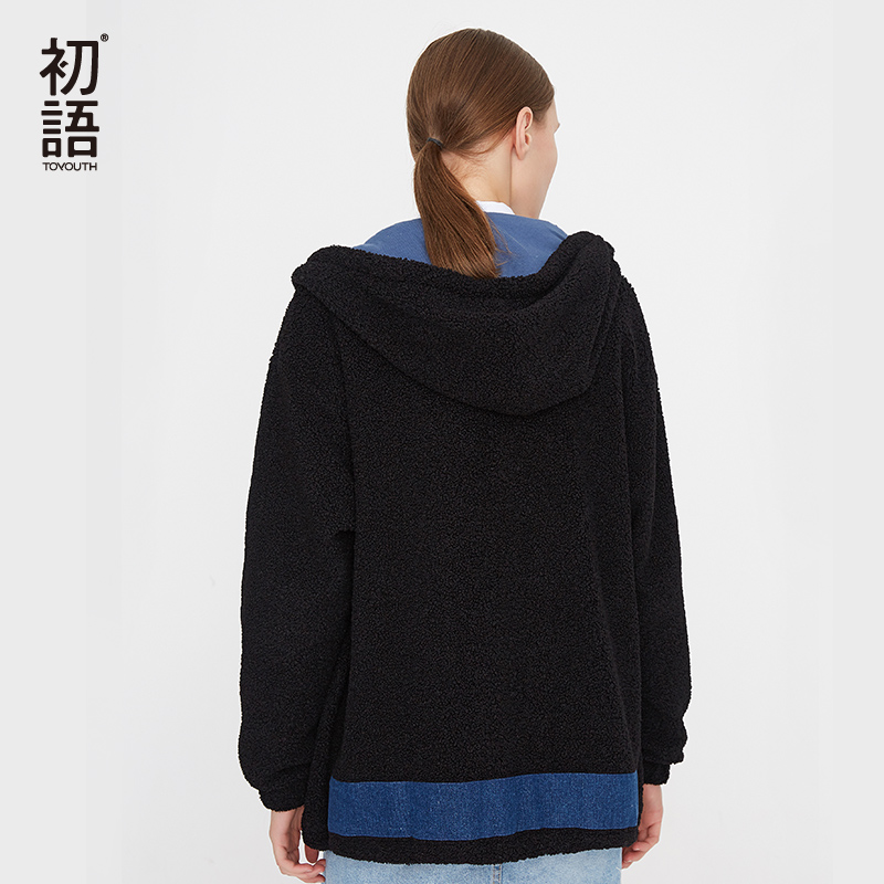 Toyouth Patchwork Embroidery Black Jacket Letter Casual Women Coat Loose Long Sleeve Outwear Female Coat Tops