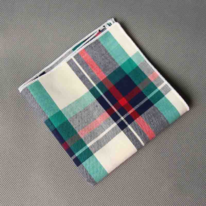 Mantieqingway High Quality Handkerchief Men Vintage Plaid Hankies Men's Cotton Pocket Square Striped Handkerchiefs Chest Towel