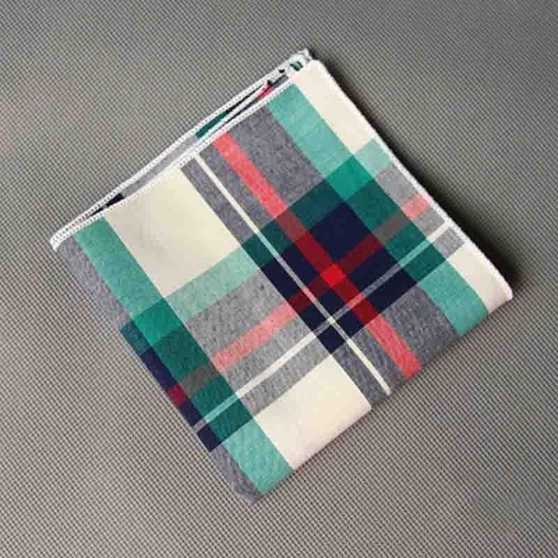 Mantieqingway High Quality Handkerchief Men Vintage Plaid Hankies Men's Cotton Pocket Square Striped Handkerchiefs Chest Towel