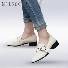 plus size 34-43 Soft Leather Oxford Shoes Flats Fashion Women Shoes Buckle Casual Moccasins Loafers Ladies Shoes zapatos mujer все цены