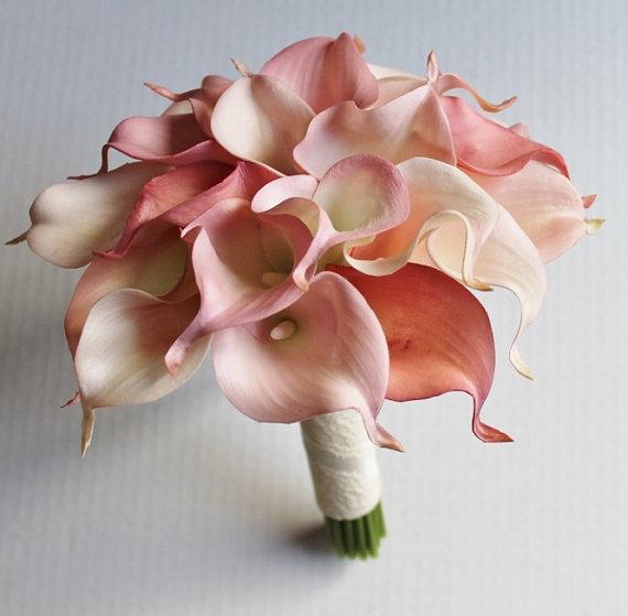 Rose Picasso Calla lys vraie touche fleurs pour Bouquets de mariage centres de table Bouquet de mariée Blush Bouquets roses - 3