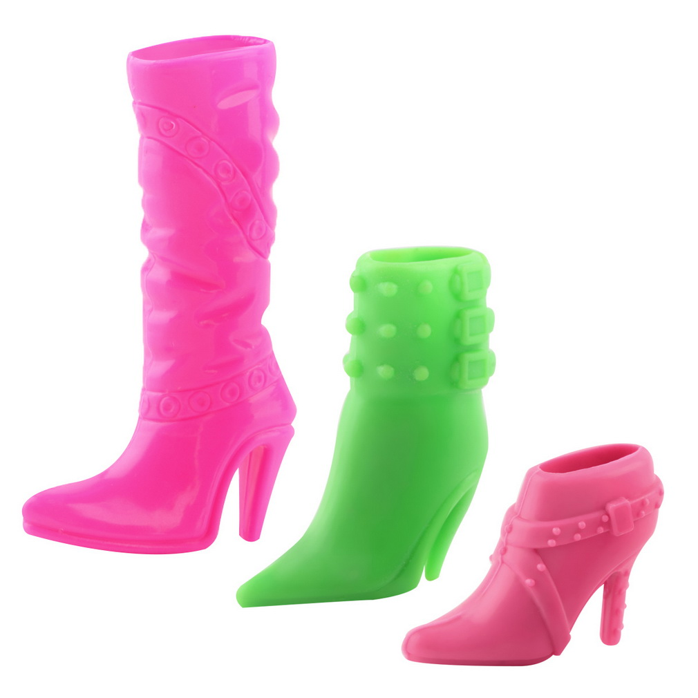 Mini 3 Pairs Trendy Hard Plastic Boots Shoes Heels For Doll Party Accessories Multiple Styles Heels For baby Gifts New Hot