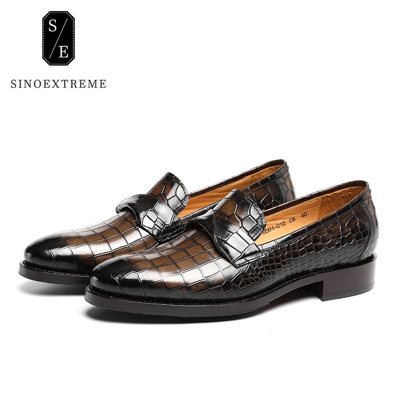 SINOEXTREME Italian Leather Handmade Crocodile Embossed Men Loafer Shoes Leisure Shoes Slip-on Shoe Luxury Breathable Men Shoes italian visual phrase book