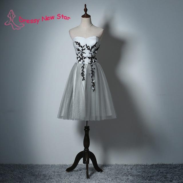 Grau Farbe Kurze Kleid mit Schwarzer Spitze Appliques Trägerlosen ...