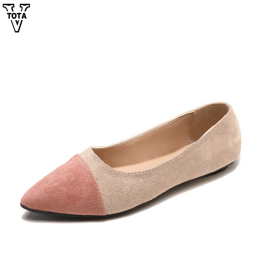 VTOTA Fashion Shoes Woman Suede Flats Woman Loafers Spring Autumn Flat Pointy Toe Ballerina Ballet Flat Slip On Basic Shoes FC ballerina wedding shoes women sweet candy ballet pointy pu leather shoes girls summer spring flat shoes butterfly bowknot