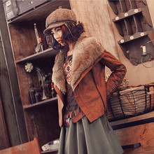 Aporia.As Ethnic Novelty Personality Women Autumn Winter Vintage&Retro Slim Embroidery Wide Lapel Short Fuax Leather Coat Jacket