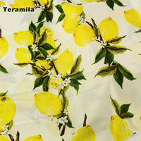 Tissues Lovely Lemon And Leaf Pattern Cotton Poplin Fabric Teramila Other Aert Work Sewing Dolls Hotel