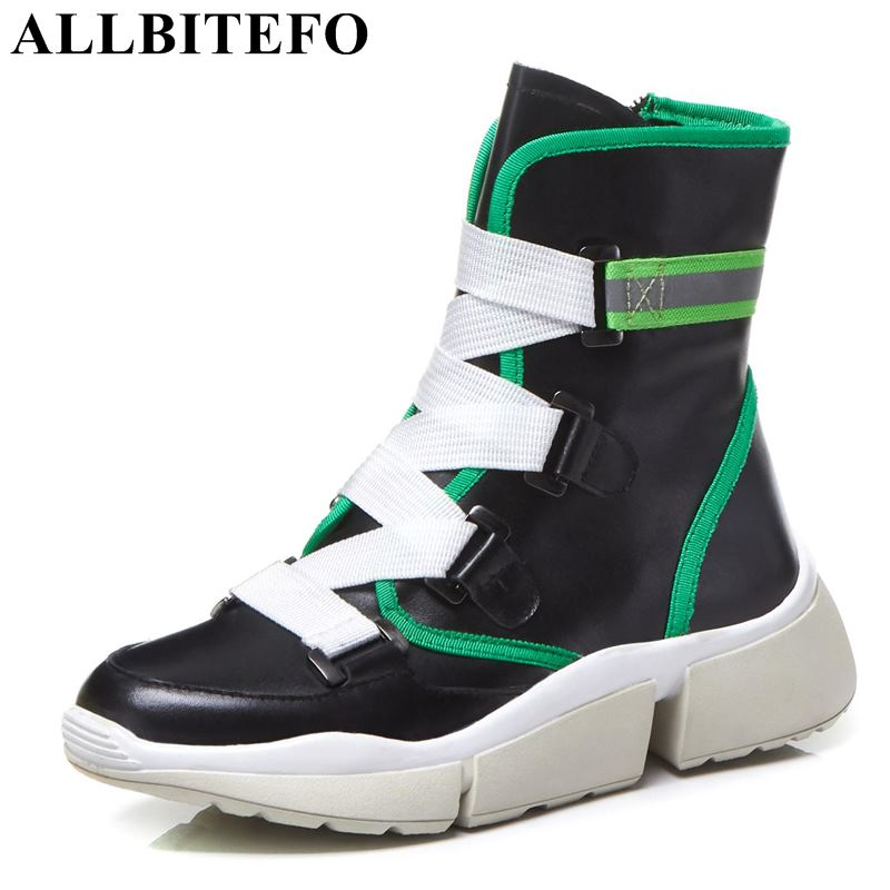 ALLBITEFO fashion brand genuine leather wedges heel platform women boots high heels ankle boots winter snow boots girls shoes s