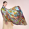 AA01808 wholesale scarves 100% Silk printed scarf real silk crepe satin big square scarves